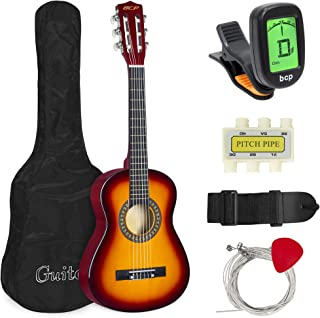 Best Choice Products 30in Kids Classical Acoustic Guitar Complete Beginners Set, Musical Instrument Kit w/Carry Bag, Picks, E-Tuner, Strap - Sunburst