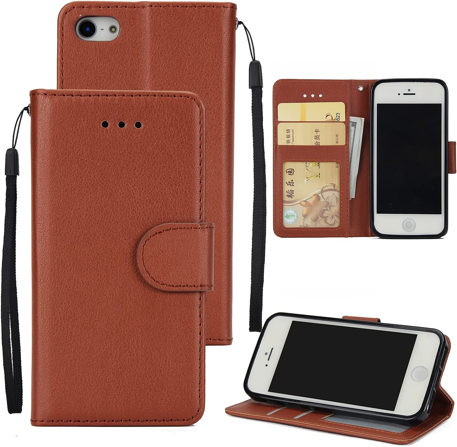 DESHENG Smartphone Protective Phone Flip Cases Wallet Case for iPhone 5S/5SE/5, Premium PU Leather Wallet Case [Wrist Strap] Flip Folio with ID&Credit Card Pockets Phone Bag (Color : Brown)