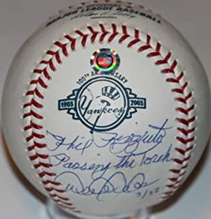 Signed Mlb Phil Rizzuto Passing The Torch Derek Jeter Baseball #/22 Auto - Steiner Sports Certified - Autographed Baseballs