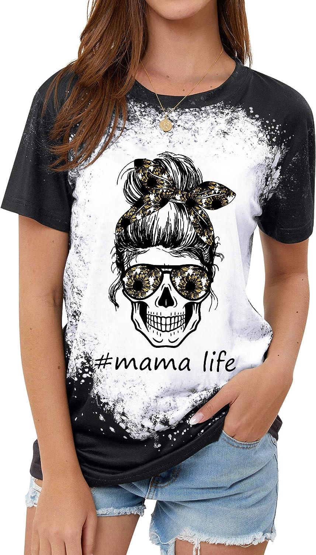 StarVnc Women Feeling Idgaf-ish Today Mama Funny T Shirt Skull Graphic Tees for Moms