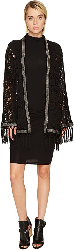 The Kooples - Lace Kimono with Metal Stripe and Fringes