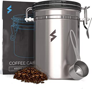 SparkPod Airtight Coffee Container w/Grounds Scoop (Large) Stainless Steel Canister w/ CO2 Valve | Kitchen Accessory for Flour, Sugar, Condiments | Ecofriendly