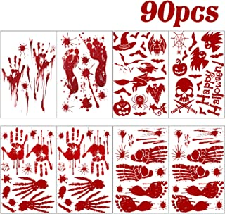 Halloween Stickers Decorations,Halloween Window Decals Wall Stickers Decor,Bloody Handprint Footprint Horror Bathroom Zombie Party Decorations Supplies, 90 Pcs