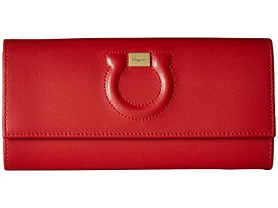 Salvatore Ferragamo Gancio Leather Continental Wallet (Lipstick) Handbags