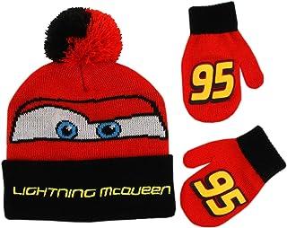 6d860381dab Disney Boys  Toddler Cars Lightning McQueen Beanie Hat and Mittens Winter  Set