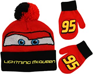 Boys' Toddler Cars Lightning McQueen Beanie Hat and Mittens Winter Set, red/black, Age 2-4