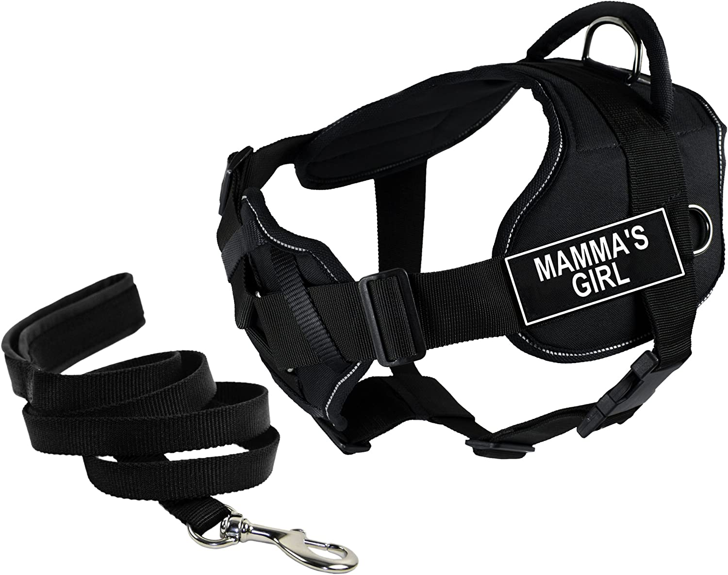 Dean & Tyler's DT Fun Chest Support MAMMA'S GIRL Harness with Reflective Trim, Small, and 6 ft Padded Puppy Leash.