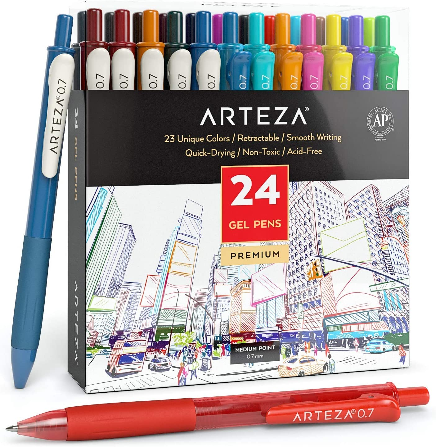 Arteza Colored Gel Pens, 24 Pack of Assorted Colors, 10 Vintage and 14 Vibrant Colors, 0.7 mm Fine Tip, Retractable, For Journaling, Drawing, Doodling, and Notetaking