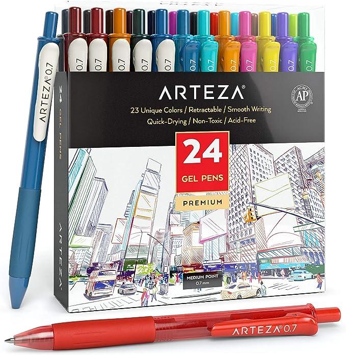 510 opinioni per Arteza Penne Gel Colorate, Confezione da 24 Colori Assortiti, 14 Colori Vivaci e