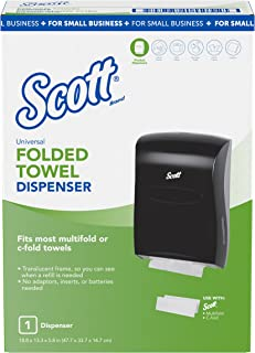 "Scott Universal Folded Paper Towel Dispenser for Small Business (49150), Multifold, C-Fold, or Single Fold, 13.3"" x 5.9"" x 18.9"", Smoke, 1 per Case"