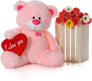 Giant Teddy Original Brand - Biggest Collection of Super Soft Stuffed Teddy Bears (Pillow Heart Included) (Cotton Candy Pink, Huge)
