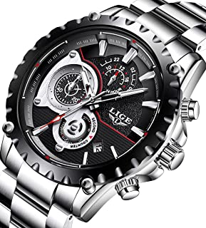 Mens Watch Fashion Quartz Analog Sport Waterproof Wrist Watch Classic Stainless Steel Luxury Brand LIGE Business Dress Chronograph…