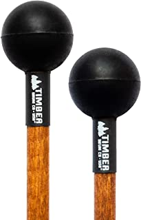 Timber Drum Company (MADE IN U.S.A Mallets-Soft Rubber Head & Birch Handles-for Log, Tongue Drums and Keyboard Percussion-...