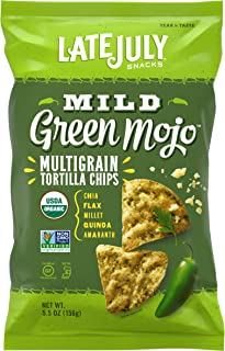 LATE JULY Snacks Multigrain MILD Green Mojo Tortilla Chips, 5.5 Ounce Bag, Pack of 12