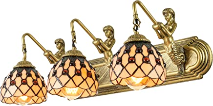 KWOKING Lighting Tiffany Style Mermaid Wall Sconce Lighting Creative Wall Mount Tiffany Lamp with Beige Shade Hanging Wall Sconce Vintage Decoration for Bathroom, Bedroom, Balcony