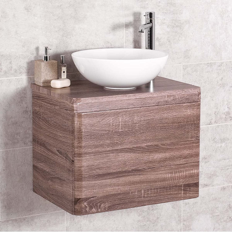 Aquariss Harmony Oak 600mm Wall Hung Vanity Unit & Noda Countertop Basin