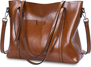 de5c0950a5 S-ZONE Women Genuine Leather Top Handle Satchel Daily Work Tote Shoulder Bag  Large Capacity