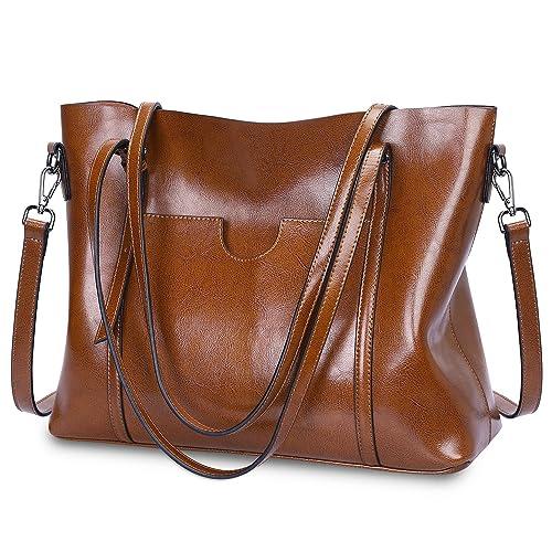 cf38c96439f S-ZONE Women Genuine Leather Top Handle Satchel Daily Work Tote Shoulder Bag  Large Capacity