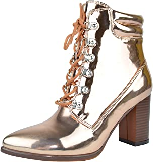 Chase & Chloe Ava-1 Pointy Toe Chunky Heel Lace Up Women's Ankle Bootie