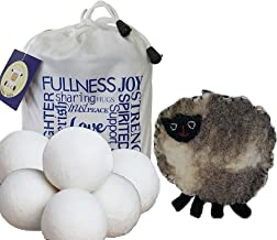 Wool Dryer Balls 6 Pack XL Free Bonus, 100% Organic New Zealand Wool, Anti-Static, Reduces Laundry Clothes Drying Time, Reusable All Natural Fabric Softener Free Handmade Sheep Coin Purse and E-Book