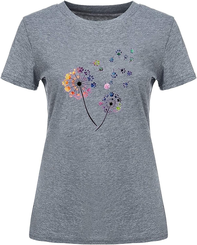 Aukbays Womens Short Sleeves Tops Love Dandelion Graphics Casual Shirt Heart Print Novelty Tops Tees Blouse