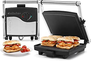 Holstein Housewares 4-Slice Panini Press Electric Griddle, Stainless Steel
