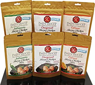 Dad's Shoyu Chicken Sauces Dry Mix - 3 Flavor Variety Pack, 6-count (2 of Each Flavor), Just Add Water & Chicken or Meat/Veggie of Your Choice, Excellent as Dry Rub
