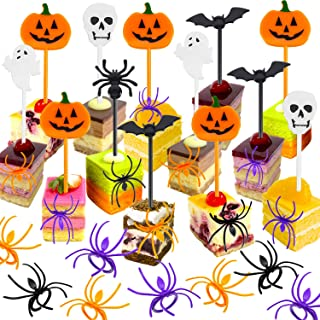 Boao 170 Pieces Spider Ring Cupcake Toppers and Halloween Appetizer Picks for Halloween Party Supplies Halloween Party Cup...