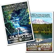 Olympic National Park & Mount Rainier National Park Posters - 2 Pack - Original Artwork - 13