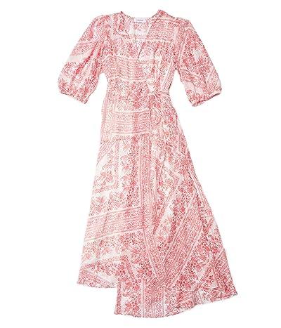 Calvin Klein Paisley Print Chiffon Dress with Surplus Neck (Watermelon Multi) Women
