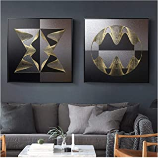 Abstract Geometric Lines Wall Art Print Picture Poster Canvas Painting Modern Luxury Home Decor (60x60cm)×2pcs Frameless