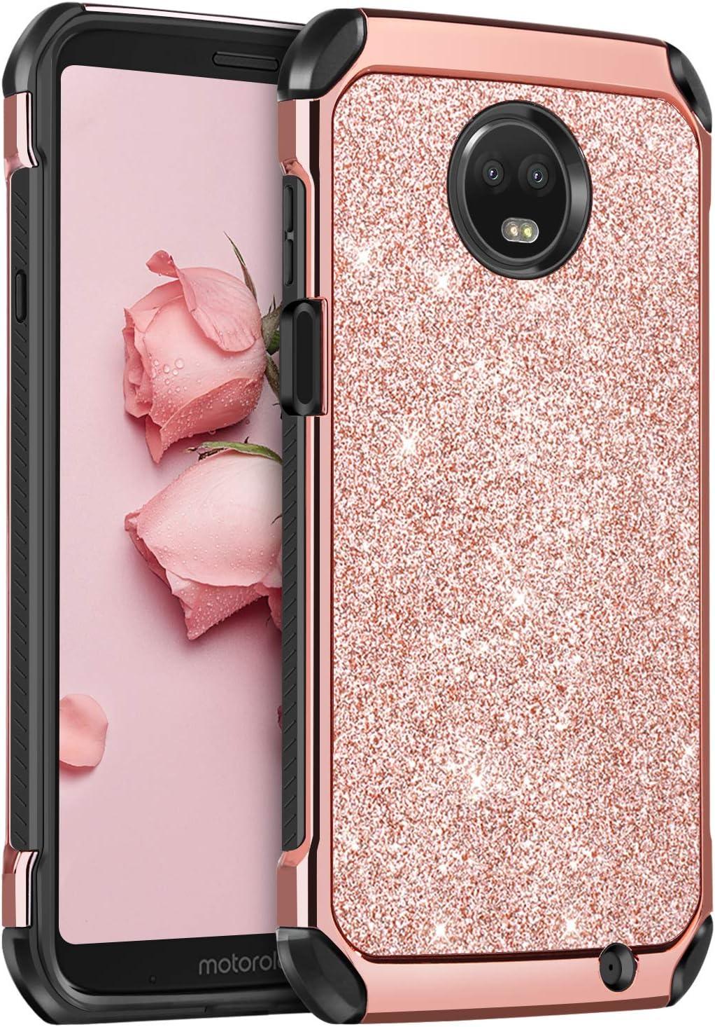 BENTOBEN Moto Z3 Case/Moto Z3 Play Case, Shockproof Glitter Sparkle Bling Girl Women 2 in 1 Shiny Faux Leather Hard Case Soft Bumper Protective Phone Cover for Motorola Moto Z3/Z3 Play 2018, Rose Gold