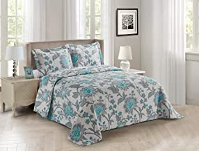 Azore Linen Grey White Botanical Floral Jacobean Flower Motif Ultra Soft Bedspread Bedding Coverlet Quilt Set - Lara (Full...