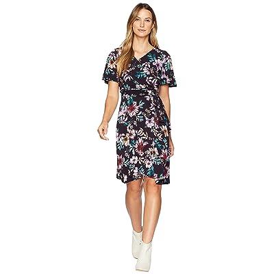 Donna Morgan Floral Jersey Wrap Dress with Flutter Sleeve (Dark Plum/Lilac Multi) Women
