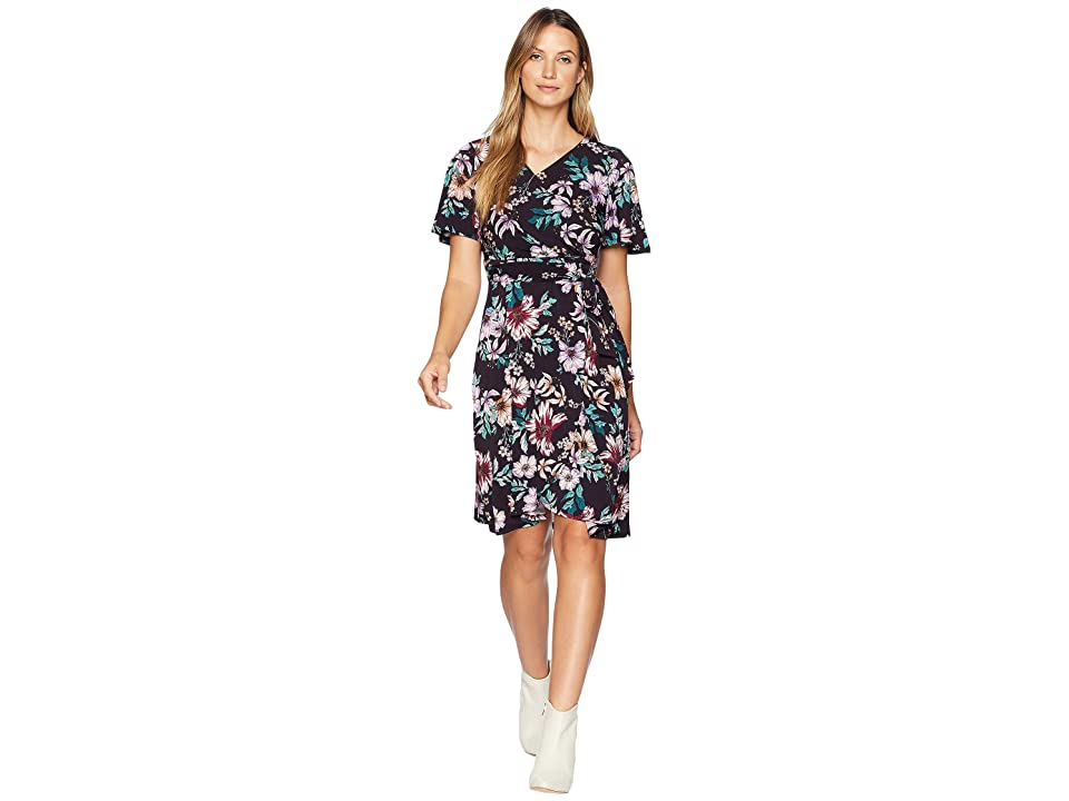8610f3e7ddf Donna Morgan Floral Jersey Wrap Dress with Flutter Sleeve (Dark Plum/Lilac  Multi)