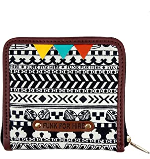 Funk For Hire Black Women's White Printed and Navy Blue Canvas Square Wallet