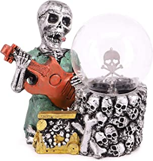 QTKJ Halloween Resin Plasma Skull Ball Light, Smoking and Playing The Guitar Skull Head Touch Sensitive Electrostatic Globe Static Light for Home, Party, Holiday Decorations Gifts