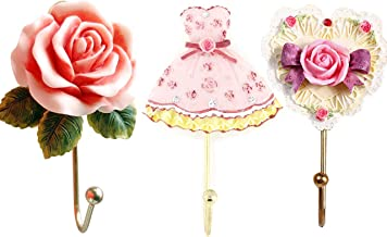 Evoio 3PCS Wall Hooks Rose Flower/Heart/Dress Resin Wall Mounted Vintage Hook Hanger Organizer for Bathroom Towel Clothes Rack Coat Hat Robe Pink(3 in 1)