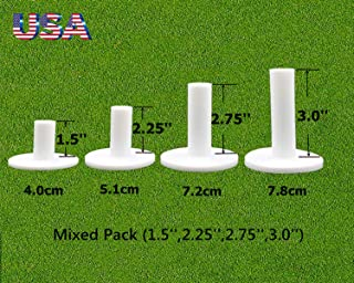 FINGER TEN Golf Rubber Tees Driving Range Value 4 Pack, Mixed Size 1.5'' 2.25'' 2.75'' 3'' for Practice Mat