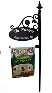 Address America Camping RV Parks Sign - New PP Design - Double Sided Reflective Sign w/Flag Post and Optional Flag - Identify Your Campground Site - Great Gift for Fellow Campers (Park It Flag)