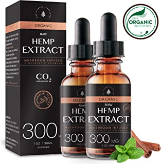 (2-Pack) Organic Raw Hemp Oil Extract - 300MG - Cinnamint Flavor - Mushroom Infused for Enhanced Efficacy, Made in USA - Rich in Omega 3-6-9 Fatty Acids, Kosher, Non-GMO. White Cedar Naturals