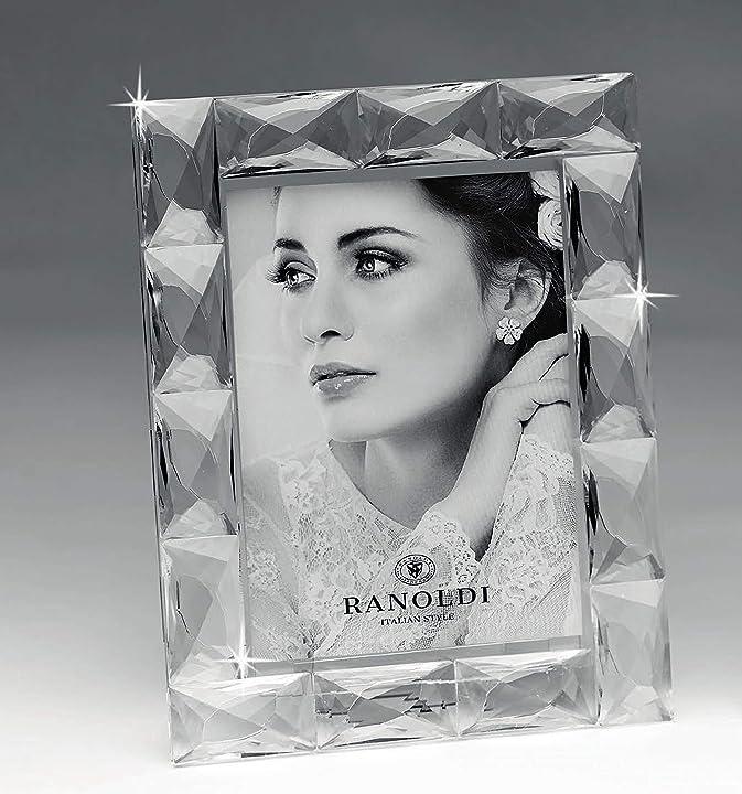 Portafoto gianfranco ranoldi elegante cristallo trasparente sfaccettato mazzola luce CX4097