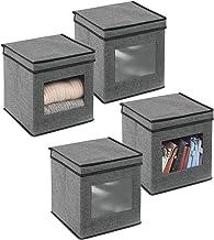 mDesign 4-częściowy zestaw pojemników do przechowywania z materiału – organizer na ubrania, z oknem i pokrywką – regał do ...