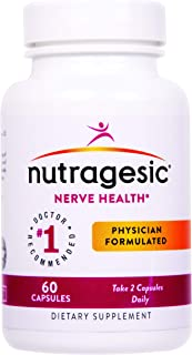 Nutragesic Nerve Health Nutritional Support - Supplement for Peripheral, Diabetic Neuropathy - Nerve Pain Symptoms Relief and Remedy - Vitamin B6, B12, Benfotiamine, Alpha-Lipoic Acid - 60 Capsules