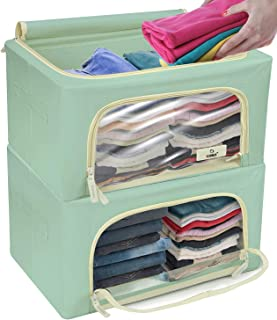 Sorbus Storage Bins Boxes, Foldable Stackable Container Organizer Set with Large Clear Window & Carry Handles, Bedroom Clo...