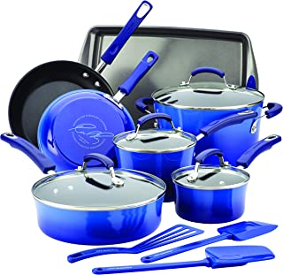 Rachael Ray 17463 Brights Nonstick Cookware Pots and Pans Set, 14 Piece, Blue Gradient