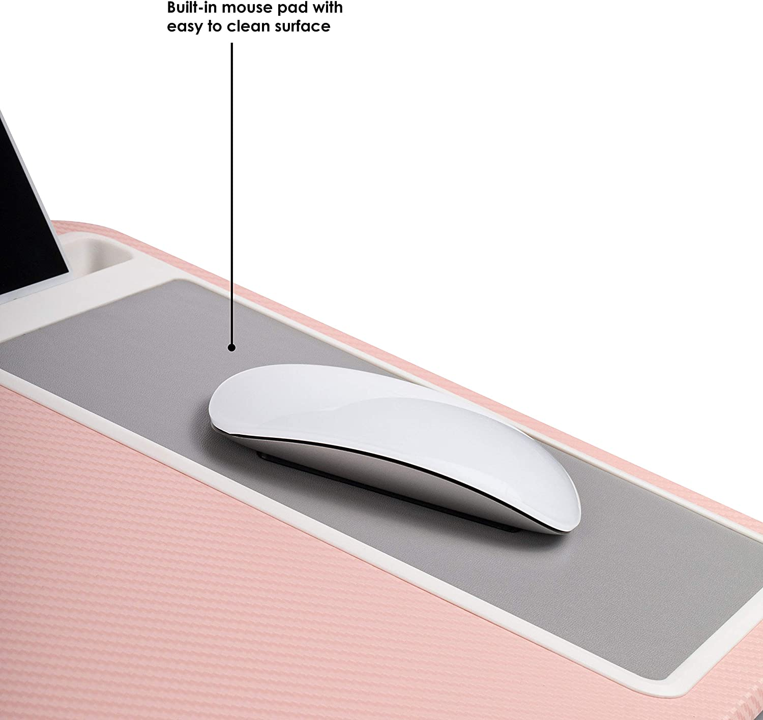 LapGear Home Office Lap Desk with Device Ledge, Mouse Pad, and Phone Holder - Pink - Fits Up to 15.6 Inch Laptops - Style No. 91584