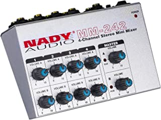"""Nady MM-242 4 Stereo / 8 Mono Channel Mini Mixer with mono/stereo mode, ¼"""" Inputs and outputs – battery powered, or use optional AC adapter (Renewed)"""