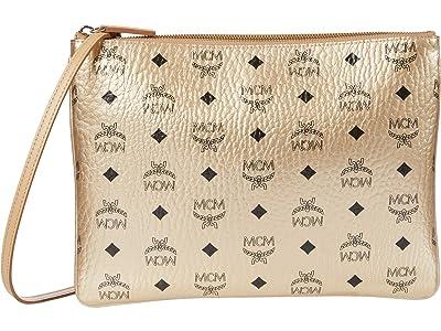 MCM Visetos Original Crossbody Pouch (Berlin Gold) Handbags