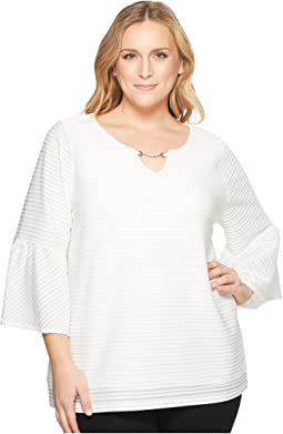 Plus Size Ottoman Flutter Sleeve Top with Hardware